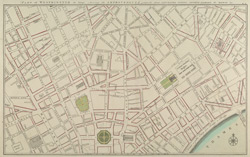 PART of WESTMINSTER at large shewing the IMPROVEMENTS propos'd about LEICESTER-FIELDS, COVENT-GARDEN, the MEWSE & c.